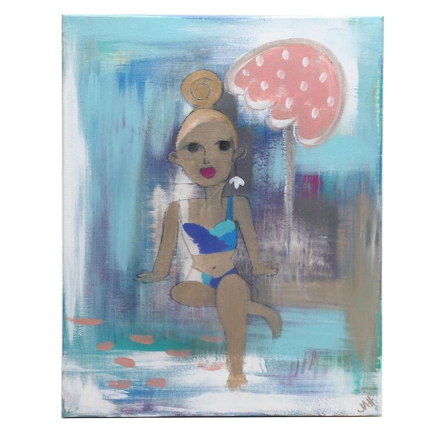 Jordan Howell Acrylic Painting of Stylized Figure Poolside