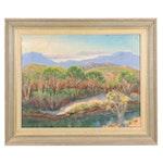 """Judge Edward J. Hummer Oil Painting """"Foothills"""""""