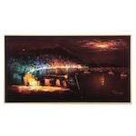 Abstract Oil Painting on Velvet of Harbor Scene with City Skyline