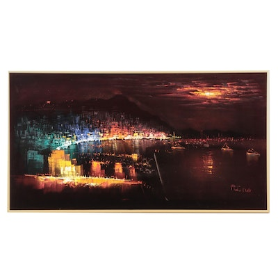 Abstract Oil Painting on Velvet of Harbor Scene with City Skyline