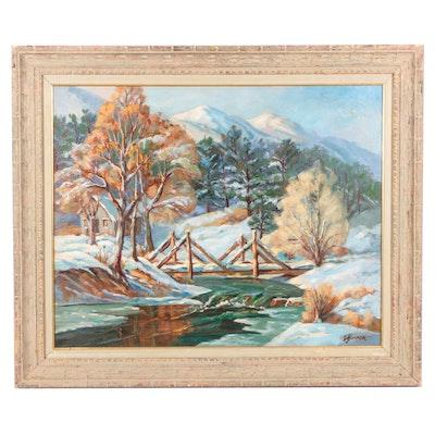"Judge Edward J. Hummer Landscape Oil Painting ""First Snow"""