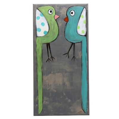 Jordan Howell Abstract Acrylic Painting of Two Birds