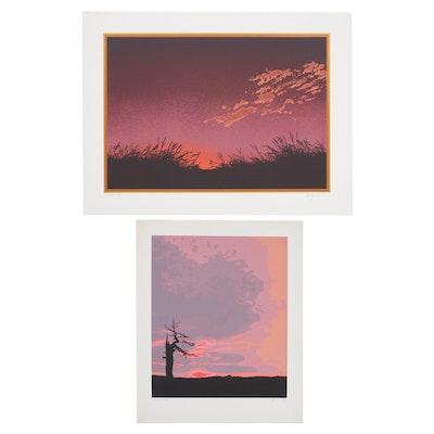 """Oren Johnson Serigraphs """"Whispers"""" and """"Sunset II"""""""