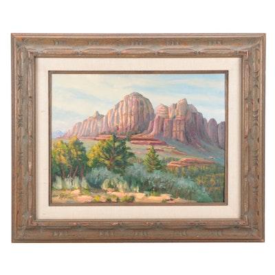 """Judge Edward J. Hummer Landscape Oil Painting """"Valley Sentinel"""""""