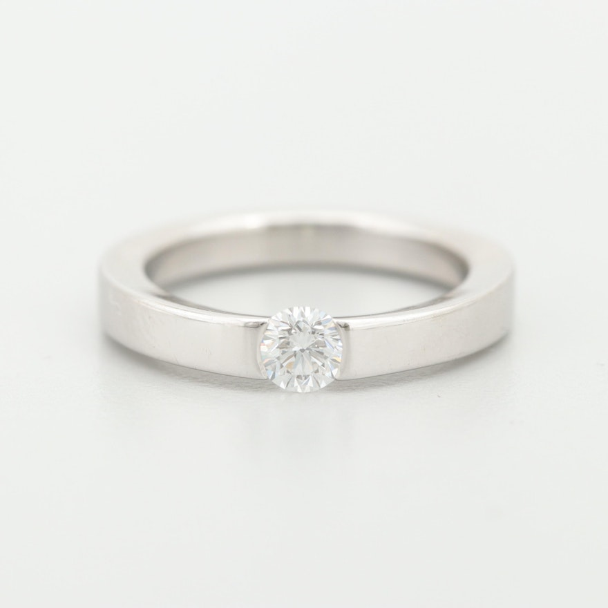 Cartier 18K White Gold Diamond Solitaire Ring