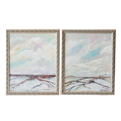 """Robert Riddle Acrylic Paintings """"Troubled Sky #1"""" and """"Troubled Sky #2"""""""
