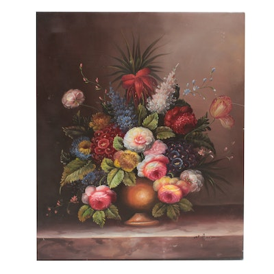 M. Aaron Oil Painting of Floral Still Life