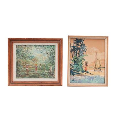 Keiki Kealoha Serigraph and Landscape Oil Painting