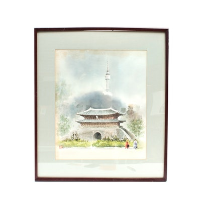 Hoe Won Watercolor of Palace and Seoul Tower