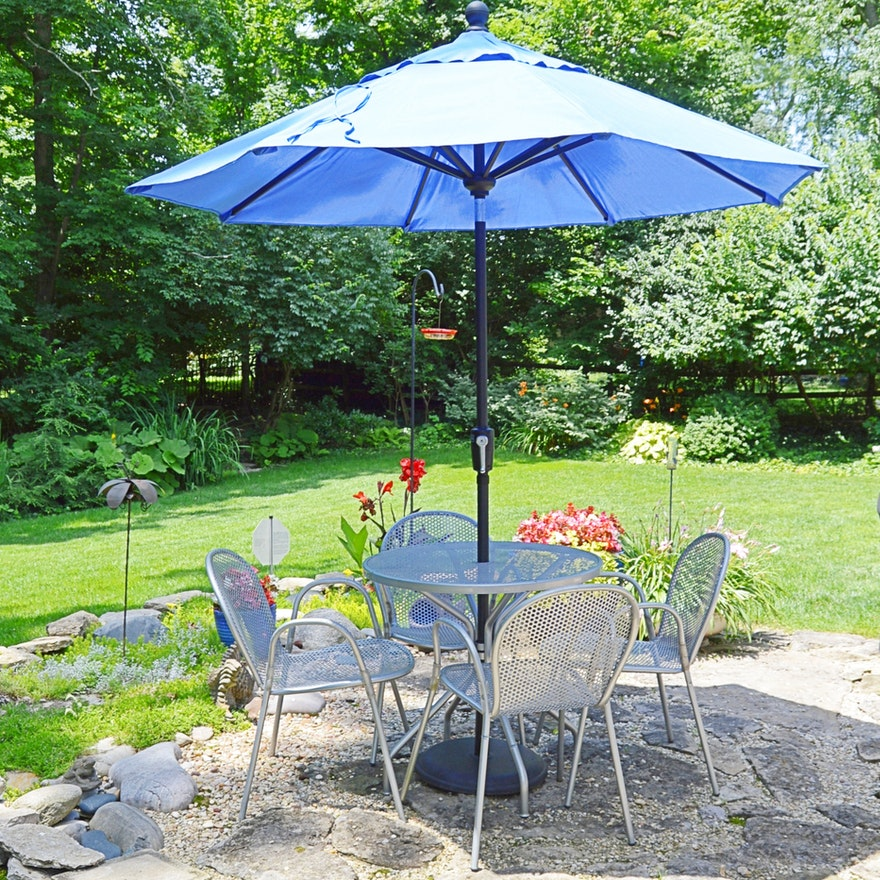 Contemporary Treasure Garden Perforated Metal Outdoor Dining Set with Umbrella
