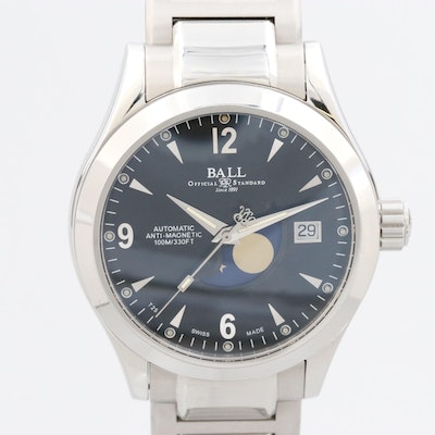 Ball Engineer II Ohio Moonphase Stainless Steel Automatic Wristwatch