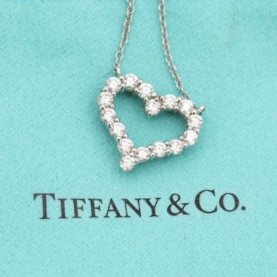 Tiffany and Co. Platinum Diamond Pendant Necklace