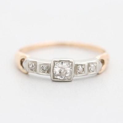 Vintage 14K Yellow and 18K White Gold Diamond Ring