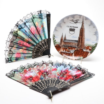 KPM Porcelain Ulm Souvenir Plate with Folding Fans