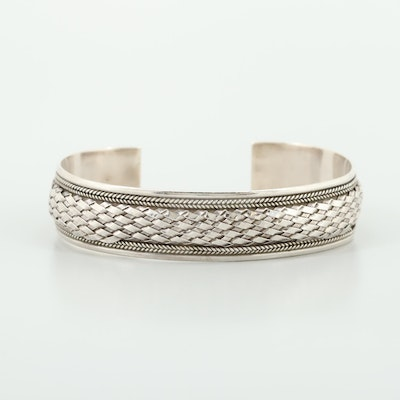 Sterling Silver Cuff Bracelet with Woven Motif