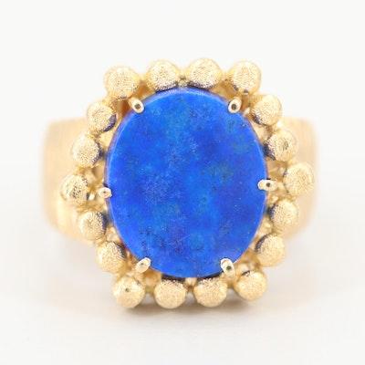Vintage 1970s 14K Yellow Gold Lapis Lazuli Ring
