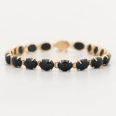 14K Yellow Gold Obsidian Longevity Bracelet