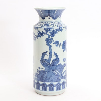 Chinese Jiangxi Hand-Decorated Porcelain Floor Vase