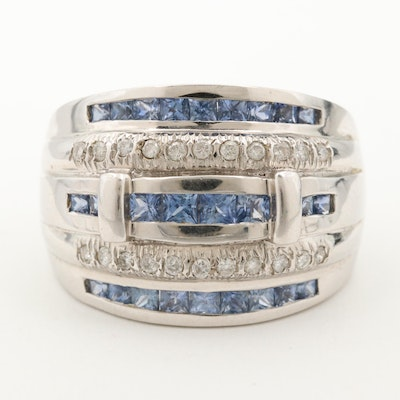 14K White Gold Blue Sapphire and Diamond Tapered Band