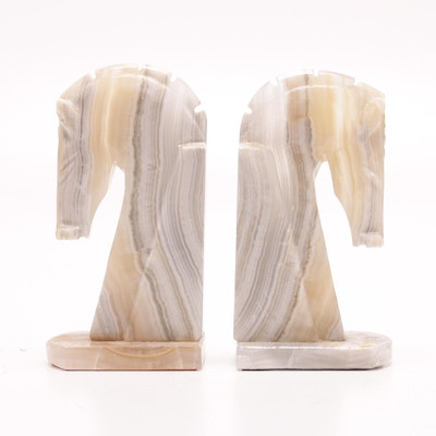 Banded Calcite Horse Head Bookends, Mid to Late 20th Century