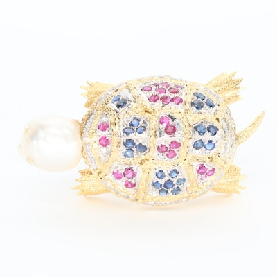 14K Gold Multi-Gemstone Turtle Brooch with Articulated Feet and Tail