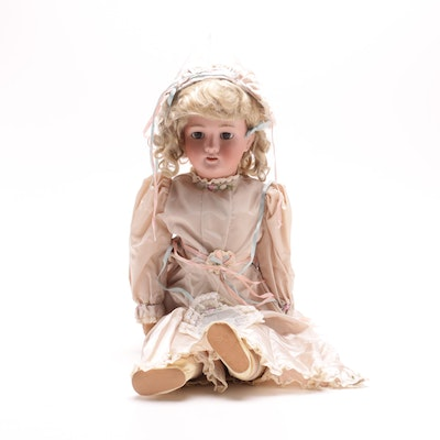 Walkure by Kley & Hahn Bisque German Doll in Silk Dress