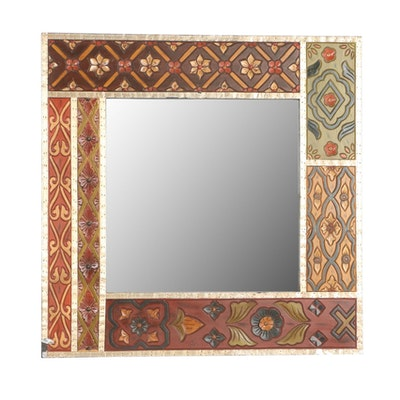 Carved Polychrome Wood Mirror