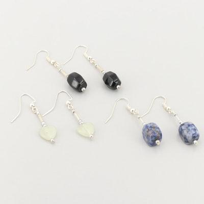 Silver Tone Sodalite, Black Onyx, and Prehnite Earrings Assortment