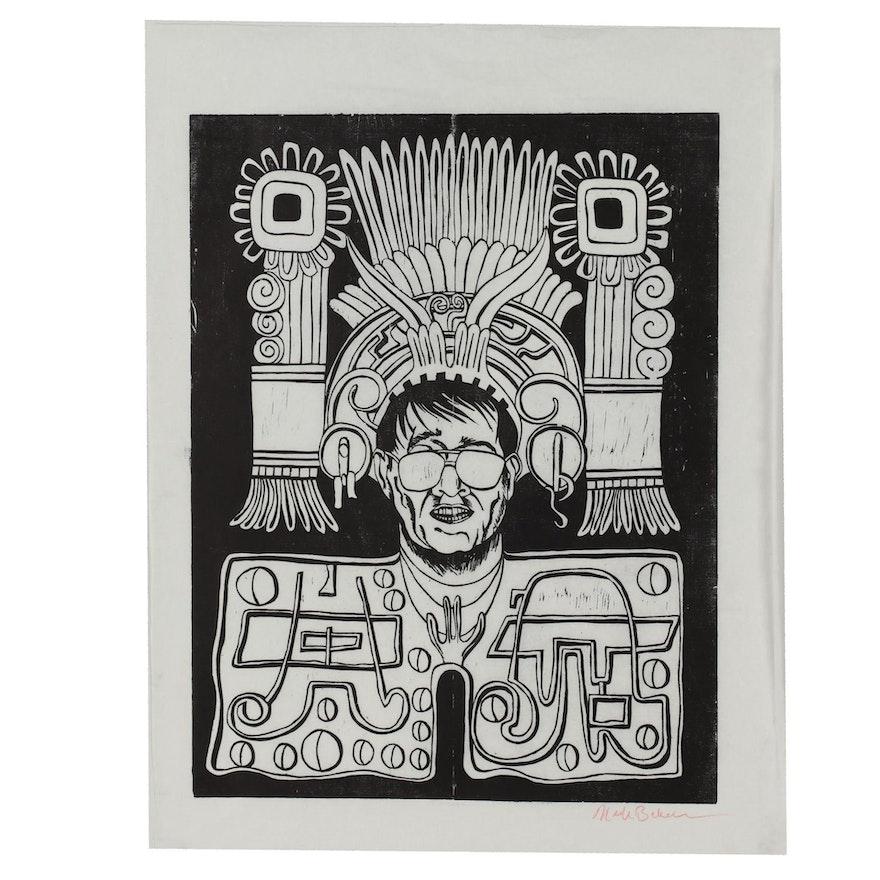 Nick Bubash Portrait Woodblock of Danny Baer