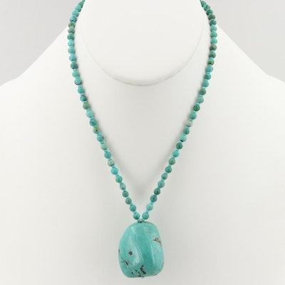 Southwestern Style Silver Tone Turquoise Beaded Necklace