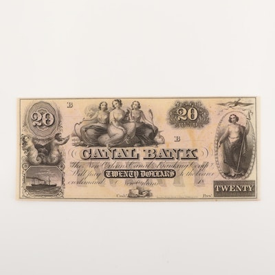 19th Century $20 Canal Bank of New Orleans Obsolete Currency Note
