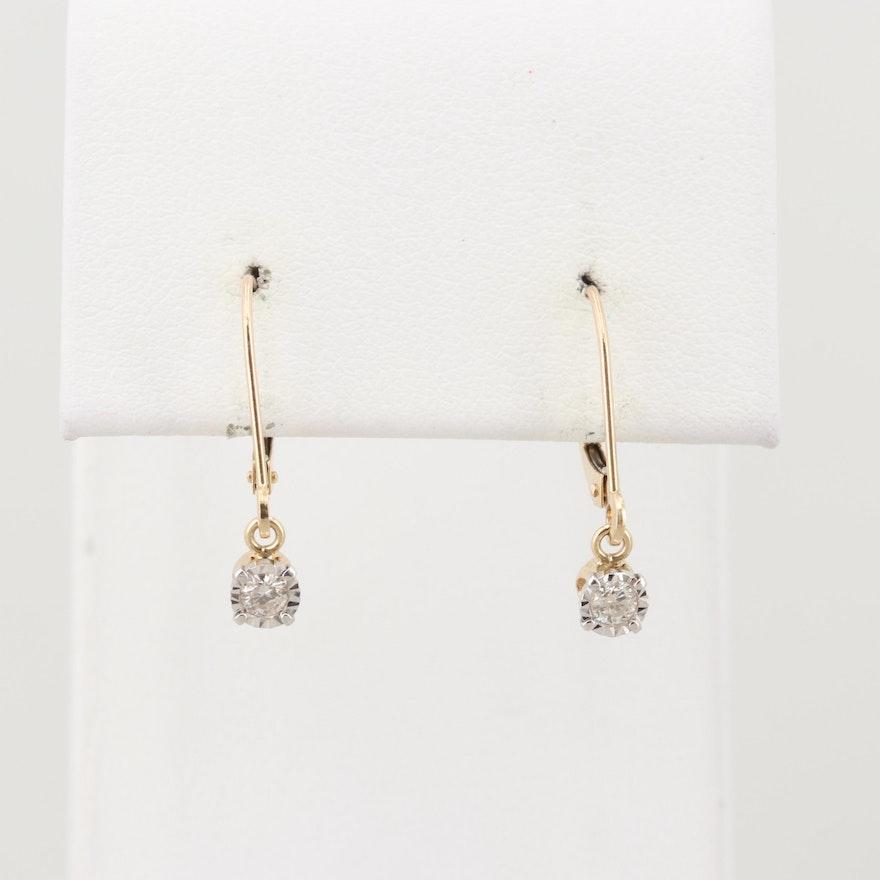 10k Yellow Gold Diamond Drop Earrings