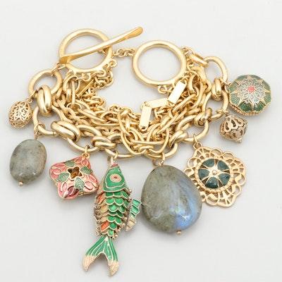 Gold Tone Labradorite and Enamel Charm Bracelet