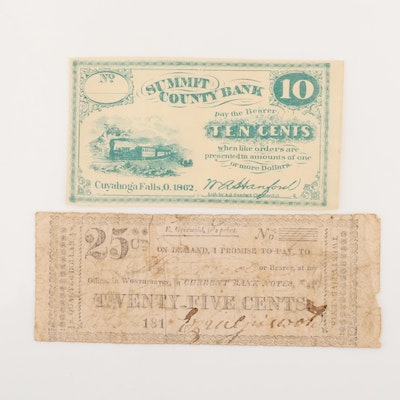 Two Obsolete Fraction Currency Notes Including Early 19th Century Note