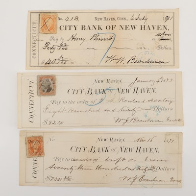 Three 19th Century Cancelled Bank Checks from New Haven, Connecticut