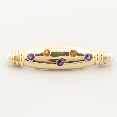 14K Yellow Gold Cultured Pearl, Amethyst and Citrine Brooch