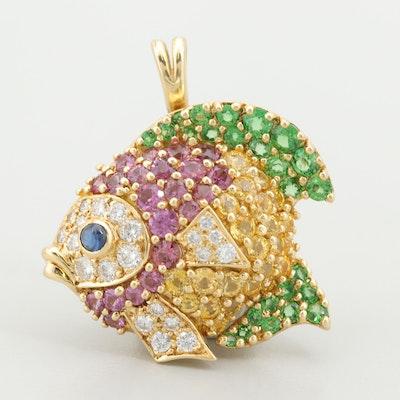 Jean Vitau 18K Yellow Gold Diamond, Sapphire, and Garnet Fish Converter Brooch