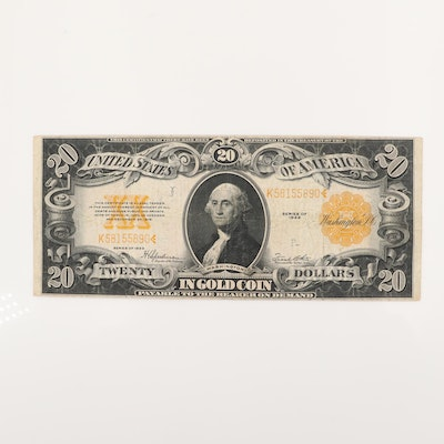 Large Format Series of 1922 $20 Gold Certificate Banknote