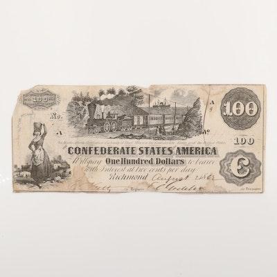 1862 $100 Confederate States of America Obsolete Banknote