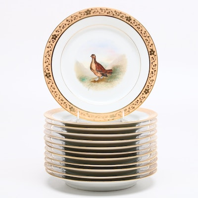 Old Paris Hand-Painted and Gilt Fowl Motif Plates, Late 19th Century
