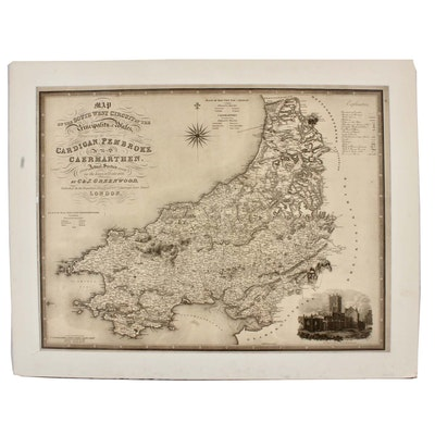 """J & C Walker Engraving after C & J Greenwood """"Map of the South West Circuit..."""""""