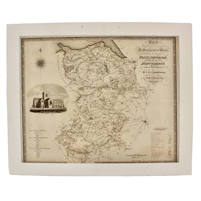 """J & C Walker Engraving after C & J Greenwood """"Map of the North East Circuit..."""""""