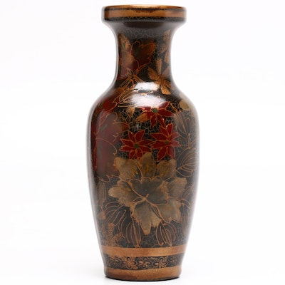 Hand-Painted Earthenware Floral Gilt Vase