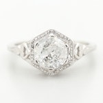 18K White Gold 1.16 CT Diamond Filigree Ring
