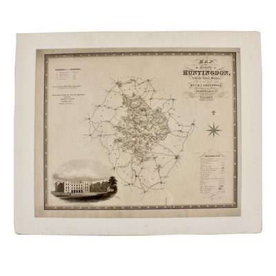 """J & C Walker Engraving after C & J Greenwood """"Map of the County of Huntingdon.."""""""