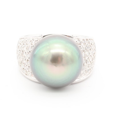 18K White Gold Cultured Pearl and Pavé Diamond Ring