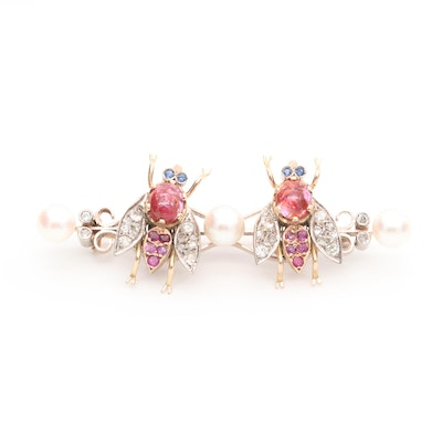 Vintage 14K Gold Pearl, Ruby, Sapphire and Diamond Insect Trembler Brooch