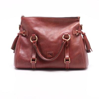 Dooney & Bourke Florentine Rust Leather Satchel with Tassels