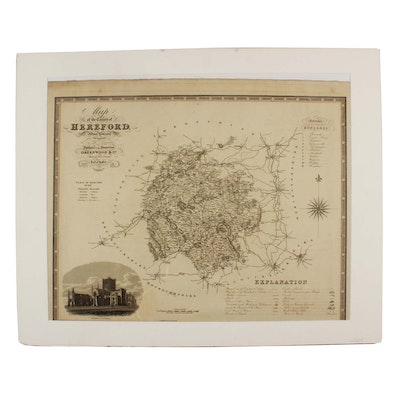"""J & C Walker Engraving after C & J Greenwood """"Map of the County of Hereford..."""""""