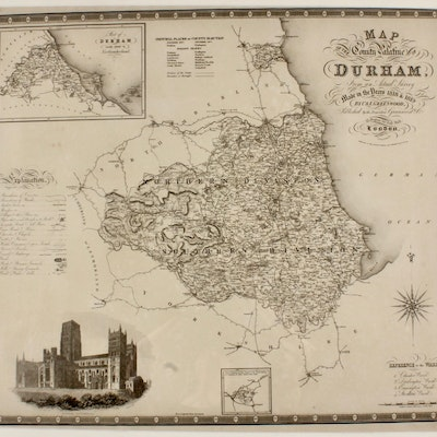 """J & C Walker Engraving after C & J Greenwood """"Map of the County Palatine of..."""""""